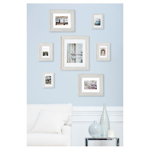 7 Piece Distressed White Mixed Profile Frame Kit - Gallery Perfect ...