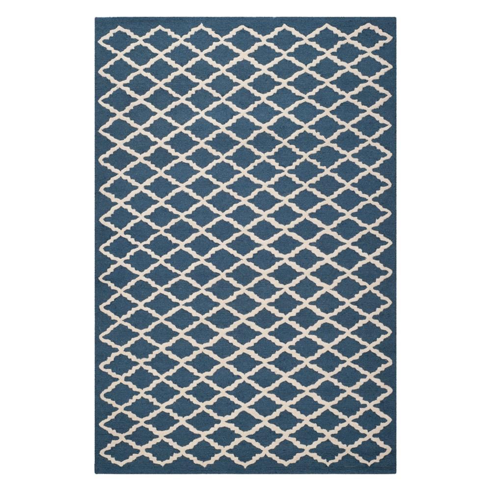 6'X9' Geometric Area Rug Navy/Ivory (Blue/Ivory) - Safavieh