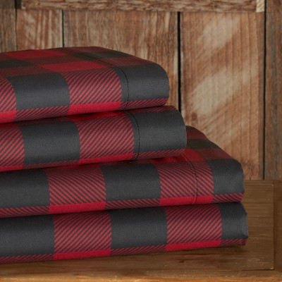 Lakeside Red and Black Buffalo Check Bed Sheet Set with Pillowcases