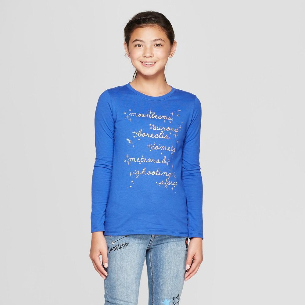 Girls' Long Sleeve Moonbeams Graphic T-Shirt - Cat & Jack Blue XL