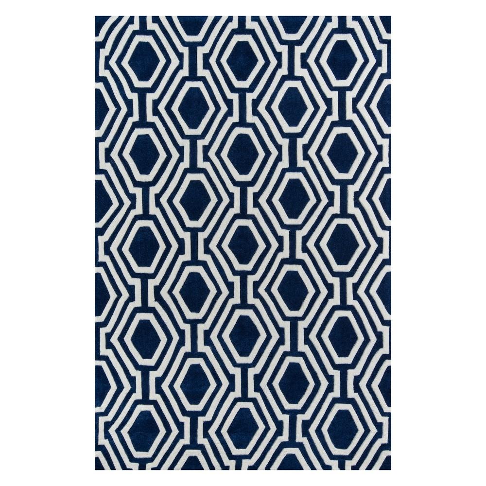5'X7'6 Geometric Tufted Area Rug Navy (Blue) - Momeni