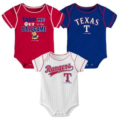 Texas Rangers Boys' 3pk Bodysuit Set - 6-9M