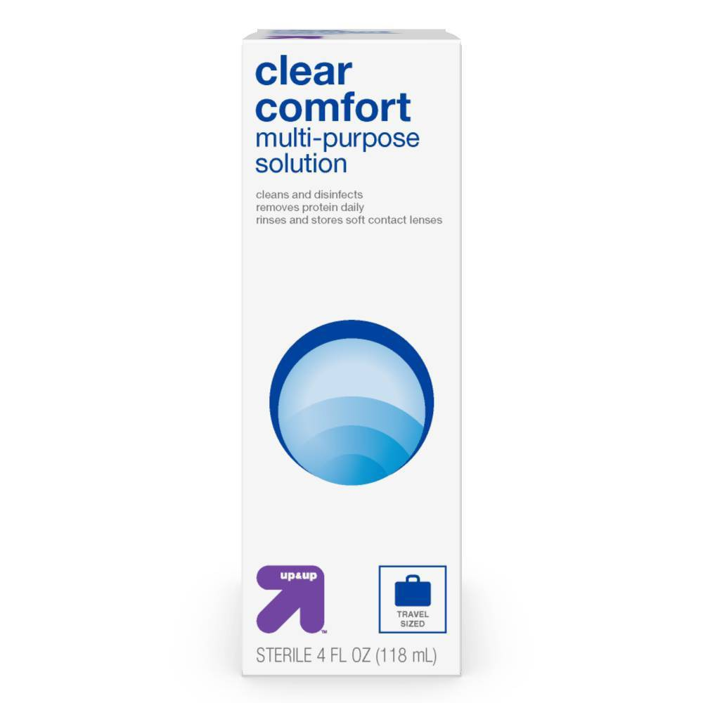 Multipurpose Contact Solution - 4 fl oz - up & up From the workweek to an out-of-town weekend, help keep your contacts working their best with Multipurpose Contact Solution from up and up™. This contact lens solution is designed to clean, disinfect and remove protein buildup from your contacts — making it a perfect option for rinsing and storing your soft contact lenses. As a bonus, the four-ounce bottle is conveniently sized for using at home or on the go; simply stash it anywhere from your purse to your bathroom cabinet for versatile convenience. 100percent Satisfaction Guaranteed. Size: 4 fl oz. Age Group: adult.