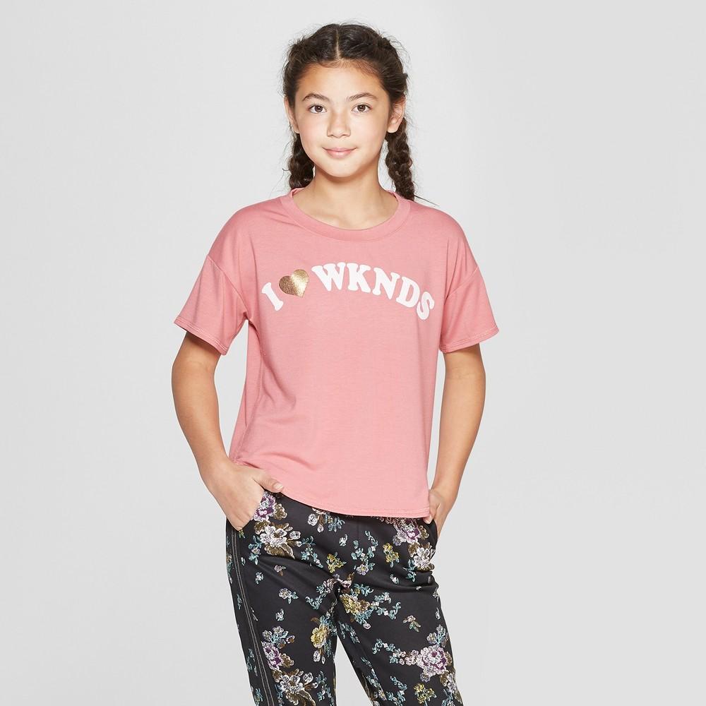 Girls' Short Sleeve Graphic T-Shirt - art class Pink XS