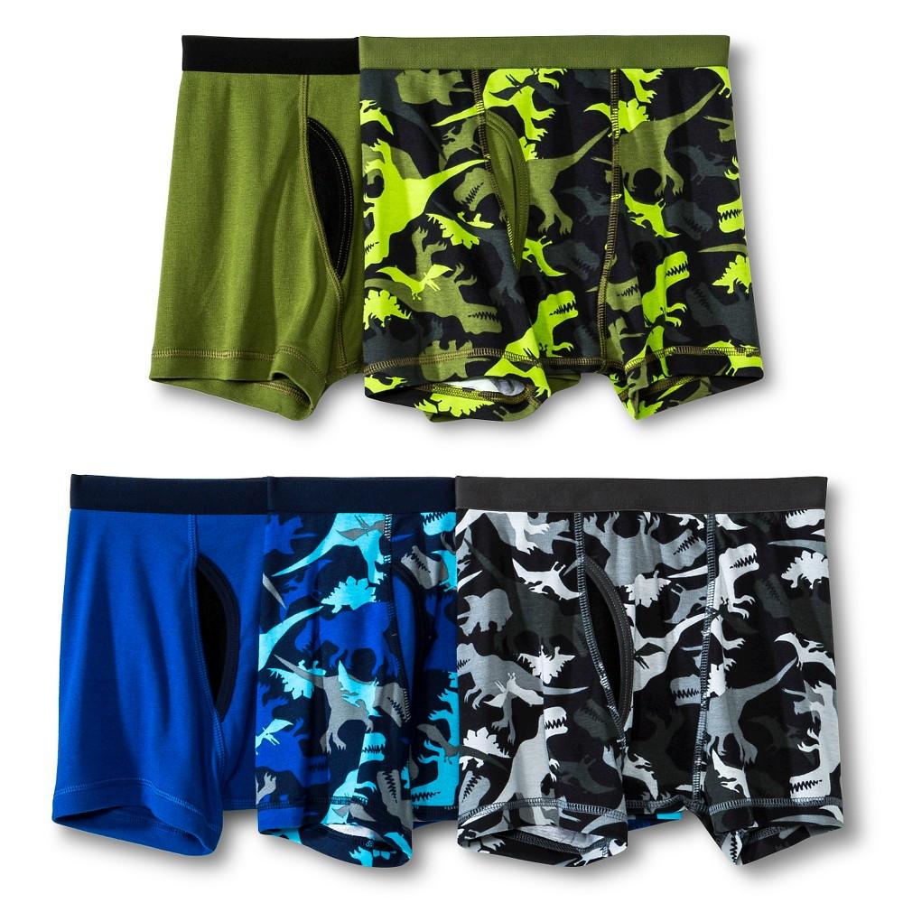 Boys' Dino Camo Boxer Briefs 5pk - Circo Green L (12-14), Size: L(12-14), Forest Light