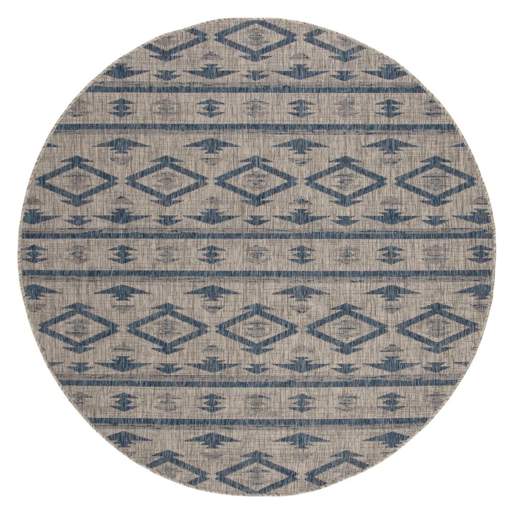 Image of Yarrow Round 6'7 Indoor/Outdoor Rug - Navy/Gray - Safavieh, Blue Gray