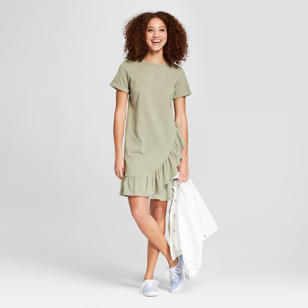 Women's Short Sleeve Asymmetrical Ruffle Hem T-Shirt Dress - A New Day Olive Heather M, Green