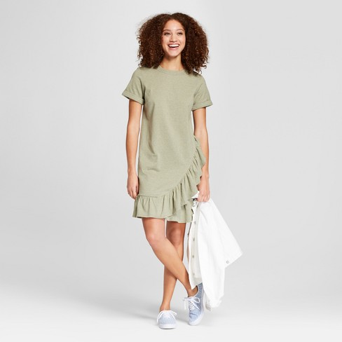 Women s Short Sleeve Asymmetrical Ruffle Hem T-Shirt Dress - A New Day™  Olive Heather f197973033