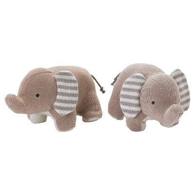 Lolli Living Knit Elephants Bookend Friends - Gray/White