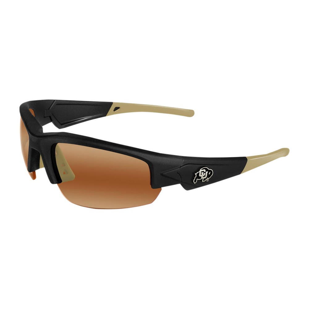 Colorado Buffaloes Dynasty 2.0 Sunglasses, Adult Unisex The University of Colorado Buffaloes Dynasty 2.0 is a sports frame sunglass for men and women of all ages. This sleek sunglass features Black Frame with Team Colored Gold Tips and a HD Polarized lens. Raised metal University of Colorado Buffaloes logos on each temple round out this Team first sunglass while allowing no peripheral distortion for all outdoor activities. Gender: Unisex. Age Group: Adult. Pattern: Solid.