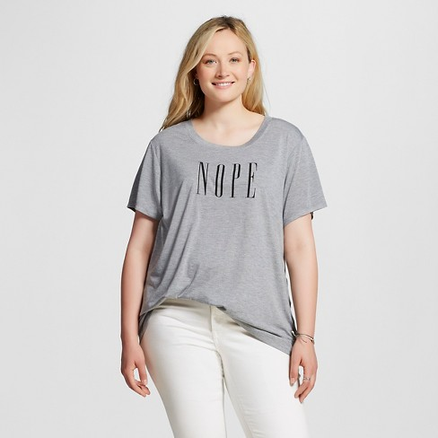 Women's Plus Size NOPE Graphic T-Shirt Heather Gray - Modern Lux - image 1 of 2
