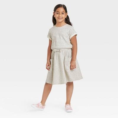 Girls' Striped Pocket Short Sleeve Knit Dress - Cat & Jack™