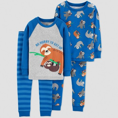 Baby Boys' 4pc Sloth Pajama Set - Just One You® made by carter's Blue 12M