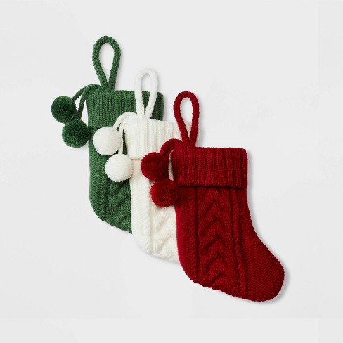 Red Christmas Stocking.Mini Cable Knit Christmas Stocking Red 3ct Wondershop