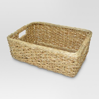 Charmant Short Seagrass Rectangular Wicker Storage Basket   Threshold™