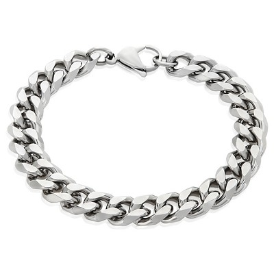 """Men's Crucible Stainless Steel Beveled Curb Chain Bracelet (11mm) - Silver (8.5"""")"""