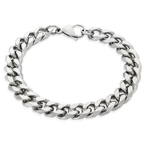 Men S Crucible Stainless Steel Beveled Curb Chain Bracelet 11mm Silver 8 5