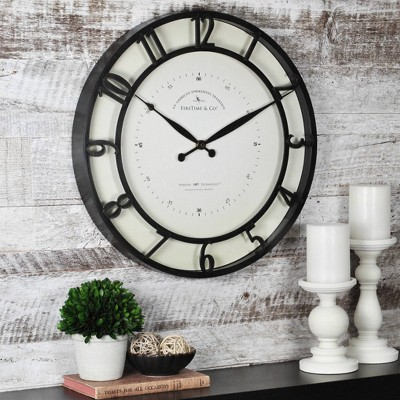 Kensington 18  Round Wall Clock Oil Rubbed Bronze - FirsTime®