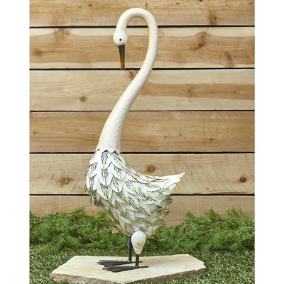 Lakeside Metal Bird Yard Ornament - Decorative Outdoor Garden Sculpture