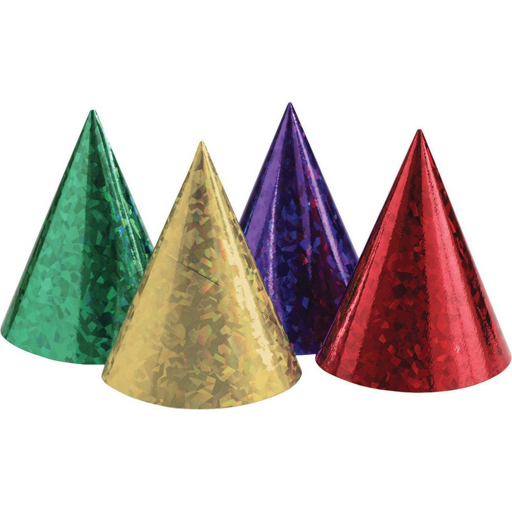 Image of 24ct Prismatic Party Hats, Kids Unisex