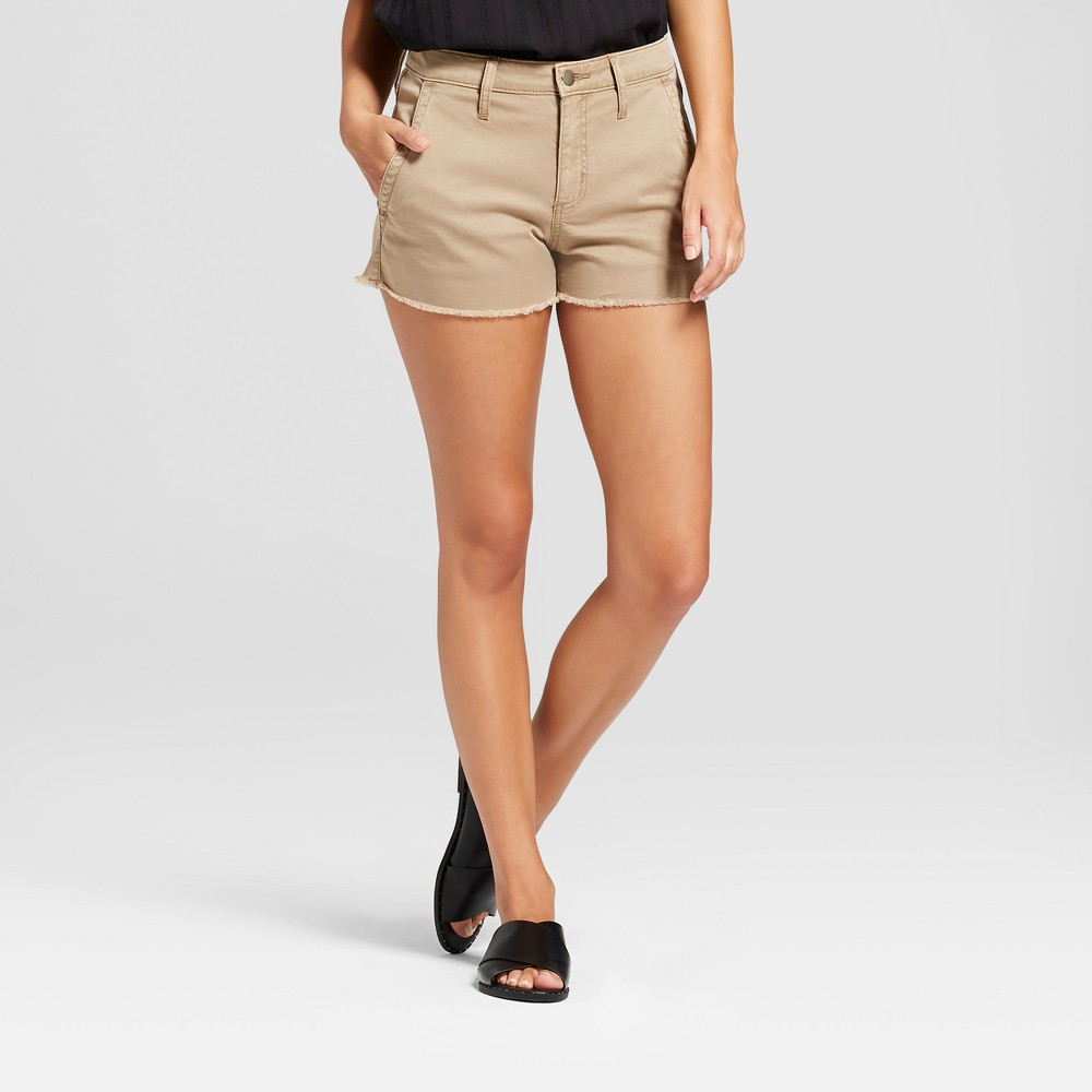 Women's High-Rise Shortie Jean Shorts - Universal Thread Khaki 16, Beige