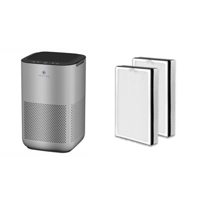 Medify Air MA-15-S1 Compact Home Air Purifier, Silver with Medify Air MA-15 Home Air Purifier H13 HEPA Replacement Filter Set (2 Pack)