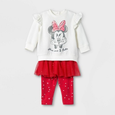 Baby Girls' 2pk Minnie Mouse Valentine's Day Fleece Long Sleeve Top and Bottom Set - Red