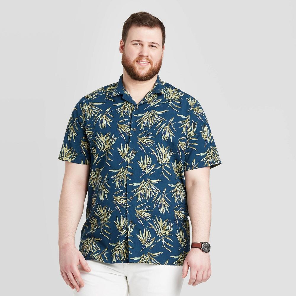 Men's Tall Standard Fit Short Sleeve Seersucker Camp Shirt - Goodfellow & Co Olive MT, Green was $19.99 now $12.0 (40.0% off)