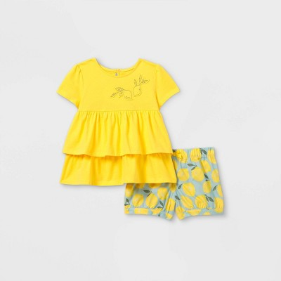 Toddler Girls' 2pc Lemon Short Sleeve Top and Bottom Set - Just One You® made by carter's Yellow