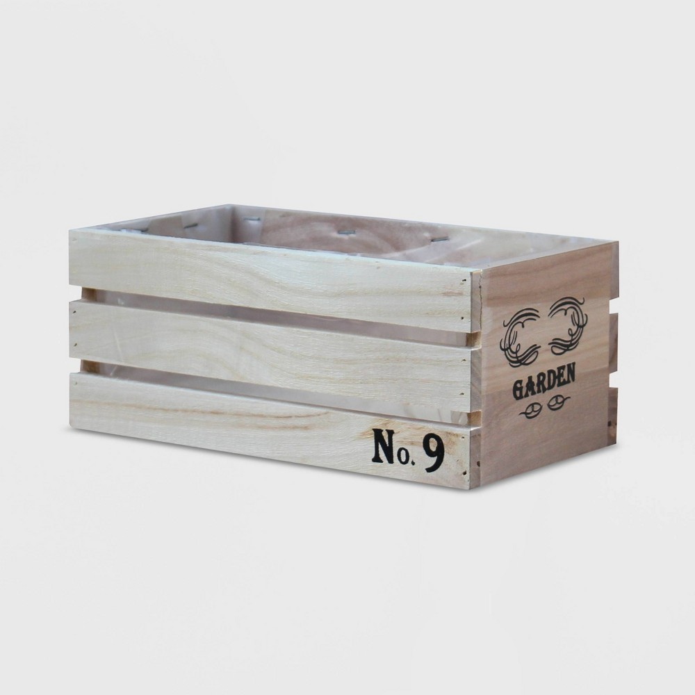 "Image of ""7"""" Rectangular Distressed Wood Crate Planter Brown S - Gardenised"""