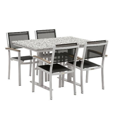 "Travira 5pc Patio Dining Set with 34""x48"" Table - Powder Coated Steel - Lite-Core Ash - Black Sling - Tekwood Vintage - Oxford Garden - image 1 of 3"
