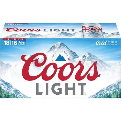 Coors Light Beer - 18pk/16 fl oz Cans