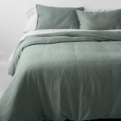 Full/Queen Heavyweight Linen Blend Comforter & Sham Set Sage Green - Casaluna™