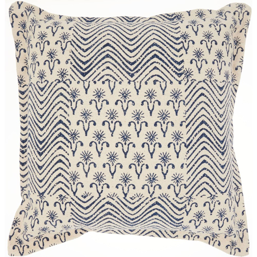 Image of Life Styles Printed Flower Patch Oversize Square Throw Pillow Indigo - Nourison