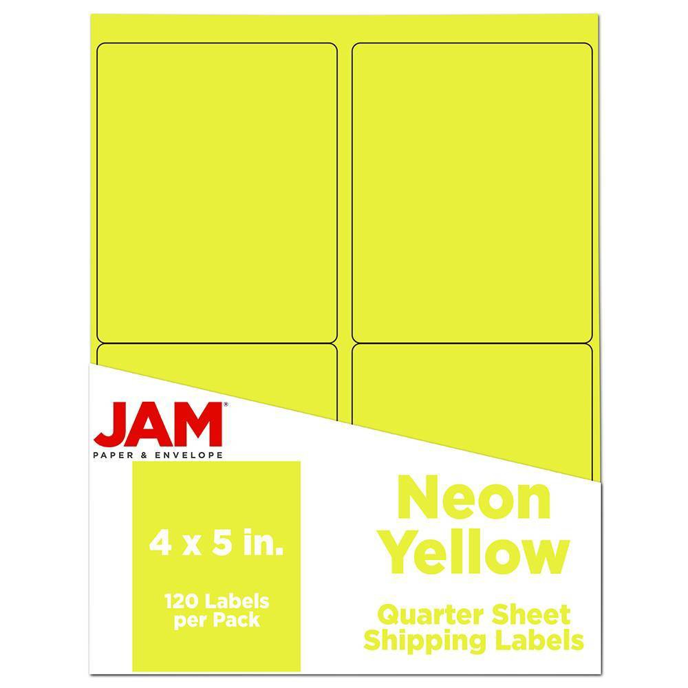 """Image of """"JAM Paper Shipping Labels 4"""""""" X 5"""""""" 120ct - Neon Yellow"""""""