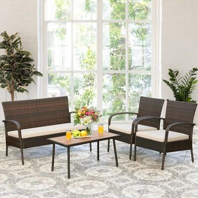 Costway 4PCS Patio Rattan Furniture Set Outdoor Conversation Set Coffee Table w/Cushions