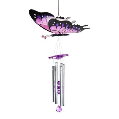 """24"""" Fluttering Wings Butterfly Wind Chime Purple - Exhart"""