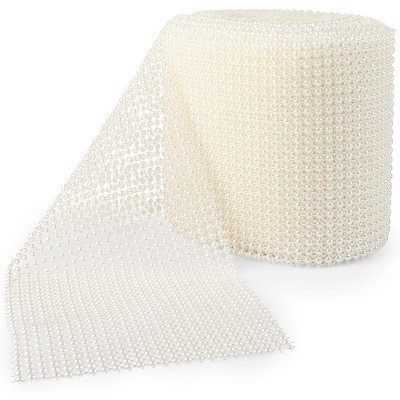 Bright Creations White Mesh Pearl Wrap Ribbon for Wreaths, Arts and Crafts (10 Yards x 4.75 Inches)