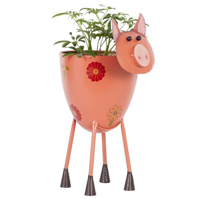 Retro 'Pink Hippie Piggie' Standing Rectangular Floor Planter - Olivia & May