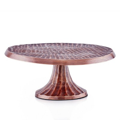 """Old Dutch 12.8"""" Metal Geometric Antique Cake Stand Copper"""
