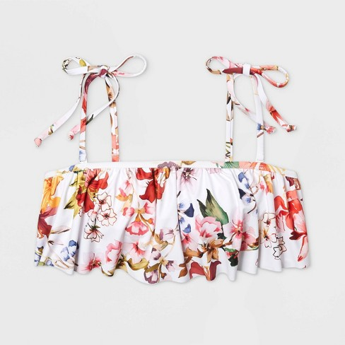 3dd30815a15 Women's Bandeau Flounce Bikini Top - Shade & Shore™ White Floral