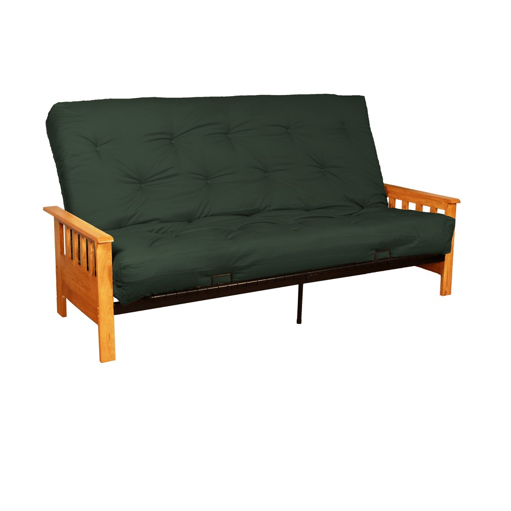 8 Mission Cotton/Foam Futon Sofa Sleeper Natural Wood Finish Forest (Green) - Epic Furnishings
