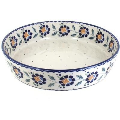 Blue Rose Polish Pottery Sunflower Large Round Baker