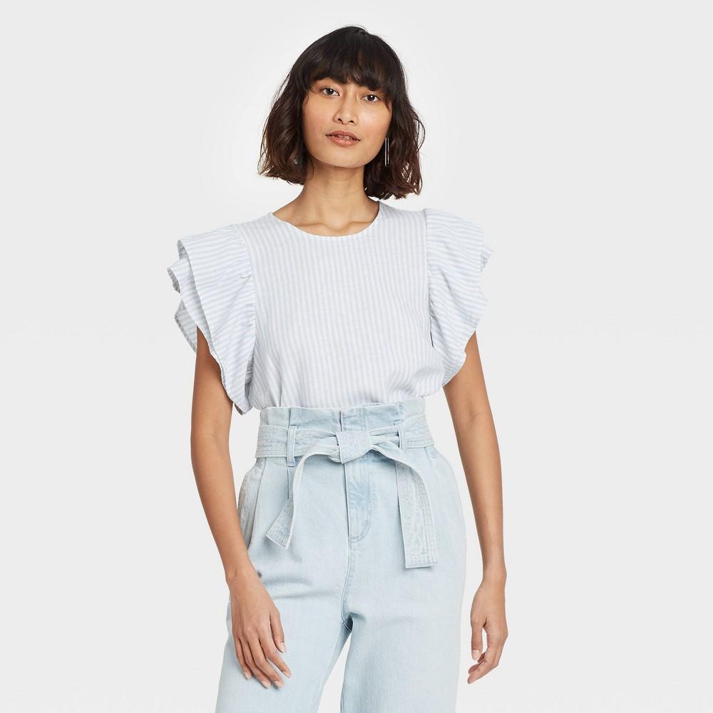 Women 39 S Striped Ruffle Short Sleeve Linen Top A New Day 8482 Blue M