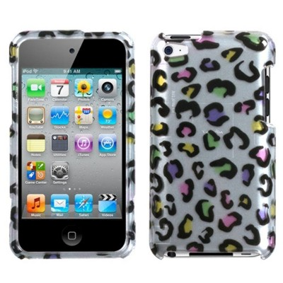 MYBAT For Apple iPod Touch 4th Gen Silver Colorful Leopard Hard Case Cover