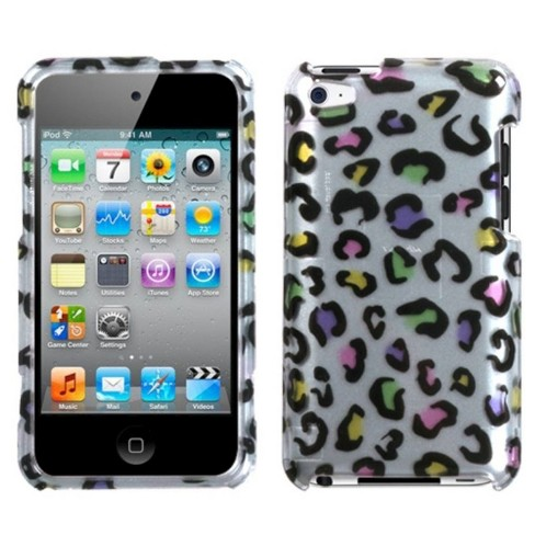 MYBAT For Apple iPod Touch 4th Gen Silver Colorful Leopard Hard Case Cover - image 1 of 2