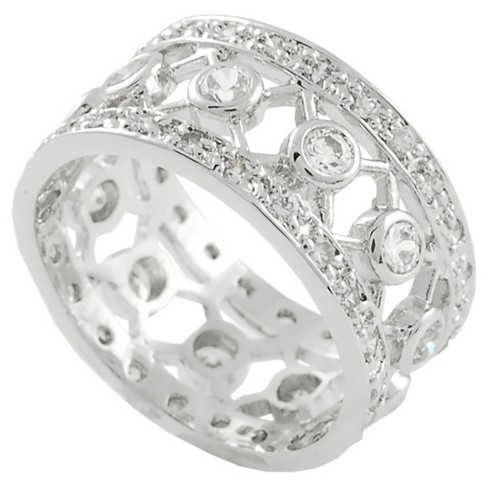 1 1/6 CT. T.W. Round-cut CZ Bezel Set Wide Band Ring in Sterling Silver - Silver - image 1 of 2