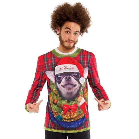 Ugliest Christmas Sweater.Men S Big Dog Ugly Christmas Sweater Costume Long Sleeve T Shirt Small