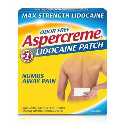 Aspercreme 4% Lidocaine Odor Free Pain Relief Patch - 5ct
