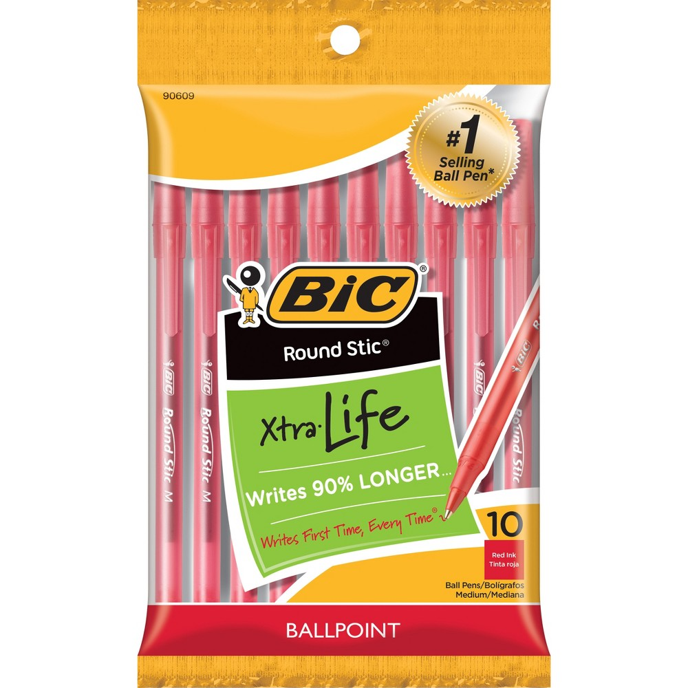Bic Xtra Life Ballpoint Pens, 1.0mm, 10ct - Red